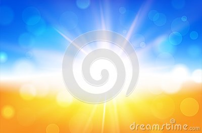 Abstract summer background with sun beams and blurred bokeh Cartoon Illustration