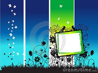 Abstract summer frame, flowers and butterflies
