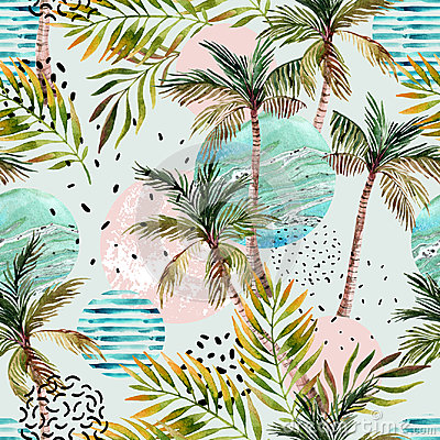Free Abstract Summer Tropical Palm Tree Background. Royalty Free Stock Images - 95857849
