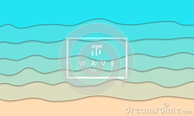 Abstract summer wave blue seacoast background paper cut style. Vector Illustration