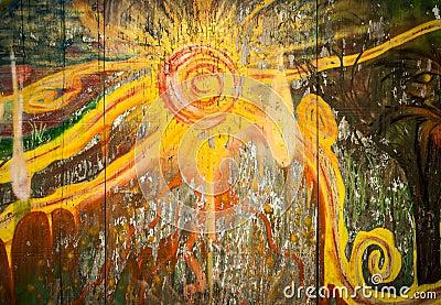 Abstract Sun Graffiti