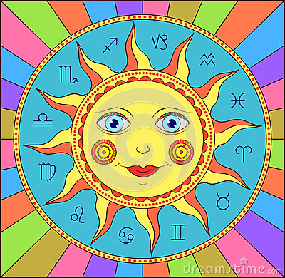 Free Abstract Sun With Zodiac Signs Stock Images - 29365144