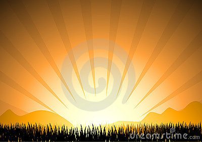 Abstract sunset in mountain with grass silhouette, vector illust