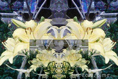 Abstract pattern of multicolored floral elements. Interpretation of yellow lilies. Stock Photo
