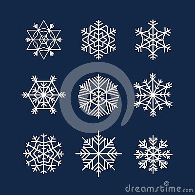 Abstract symmetry winter snowflakes