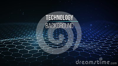 Abstract technology background. Background 3d grid.Cyber technology Ai tech wire network futuristic wireframe Vector Illustration