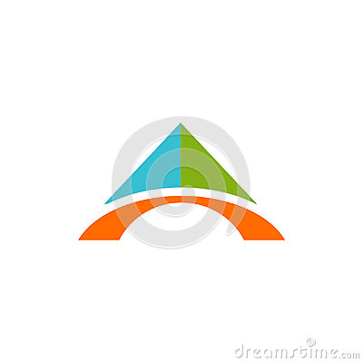 Abstract technology bridge triangle color logo Vector Illustration