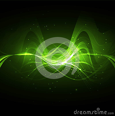 Abstract technology bright green wave