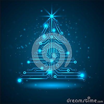Free Abstract Technology Christmas Tree. Stock Photos - 28062993