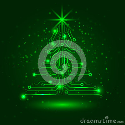 Free Abstract Technology Christmas Tree. Stock Images - 28063024