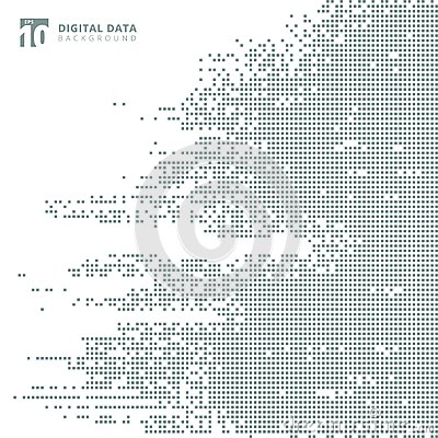 Abstract technology digital data square gray pattern pixel background. Vector Illustration