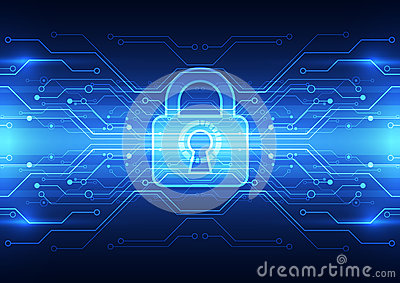 Abstract technology security on global network background, vector illustration Vector Illustration