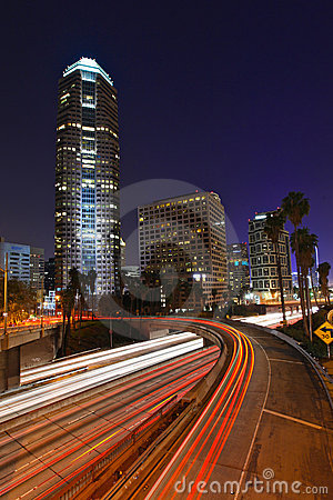 Abstract Timelapse Freeway Traffic at Night in Los