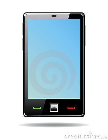 Abstract  touchscreen smart phone with blue screen