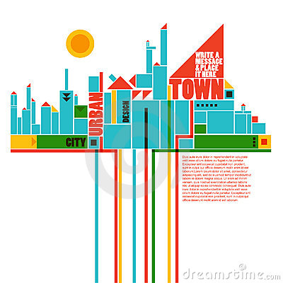 Abstract town - geometric composition