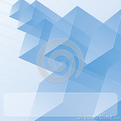 Abstract transparent blue modules