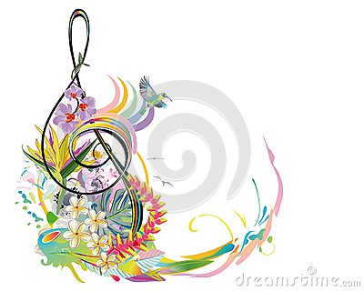 Abstract treble clef decorated with summer and spring flowers, palm leaves, notes, birds. Vector Illustration