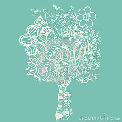 Abstract tree on blue