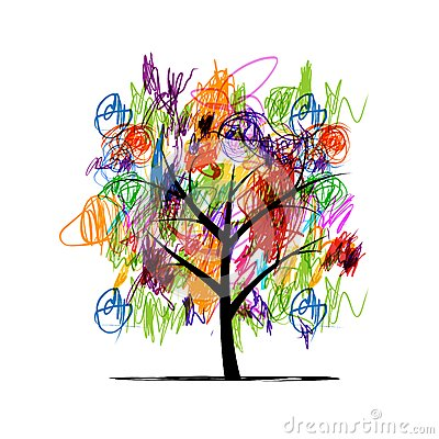 Abstract tree with children paintings