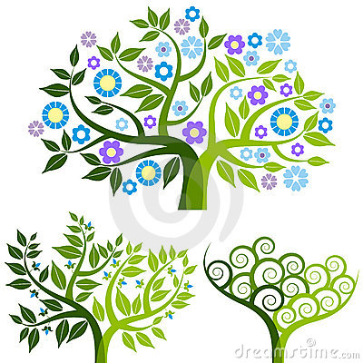Abstract tree with flowers - set