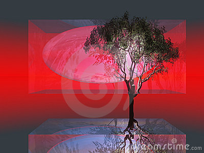Abstract Tree in Glass