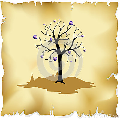 Abstract tree on old paper background