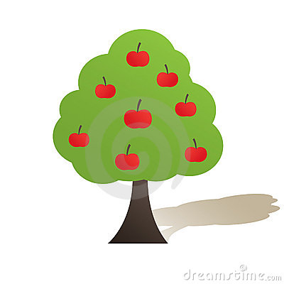 Abstract  tree with red apple. Vector