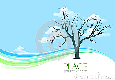 Abstract Tree and Vast Blue Sky Background
