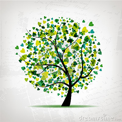 Free Abstract Tree With Heart Leaf On Grunge Background Stock Images - 18892344