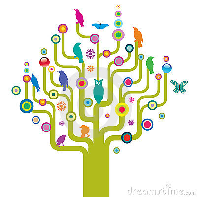 Free Abstract Tree With Wildlife Stock Photography - 4554132