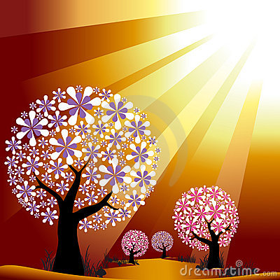 Abstract trees on golden burst light background