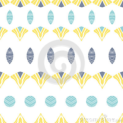 Abstract tribal shapes stripes seamless pattern