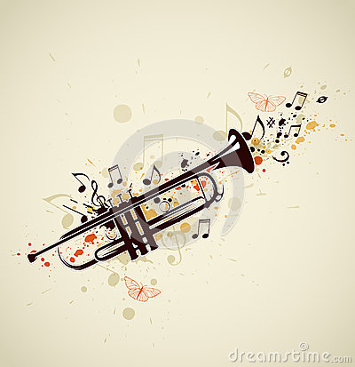 Abstract trumpet and notes