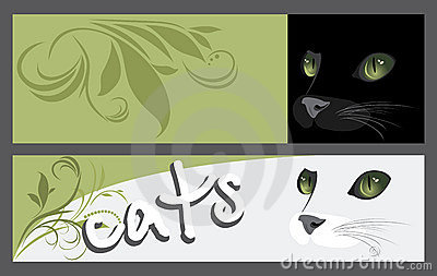 Abstract two banners with muzzle of cats