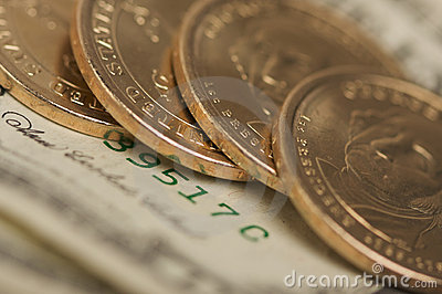 Abstract U.S. Dollar Coins & Bills