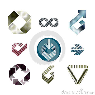 Abstract unusual lined vector icons set, creative symbols collec