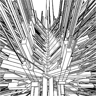 Abstract Urban City Building In Chaos Vector 169