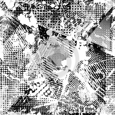 Free Abstract Urban Seamless Pattern. Grunge Texture Background. Scuffed Drop Sprays, Triangles, Dots, Black And White Spray Royalty Free Stock Photos - 80666808
