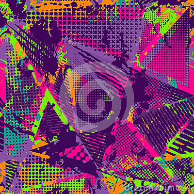 Free Abstract Urban Seamless Pattern. Grunge Texture Background. Scuffed Drop Sprays, Triangles, Dots, Neon Spray Paint Stock Photography - 79732542