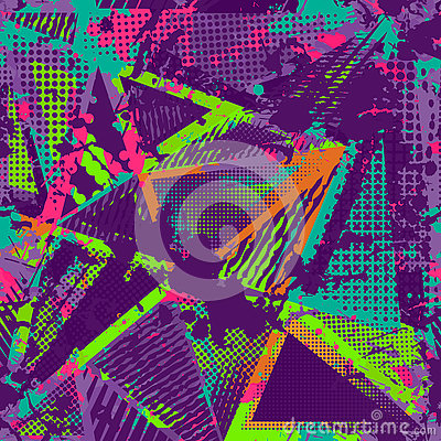 Free Abstract Urban Seamless Pattern. Grunge Texture Background. Scuffed Drop Sprays, Triangles, Dots, Neon Spray Paint, Splash. Urban Royalty Free Stock Photos - 81486318