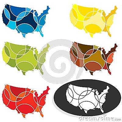 Abstract USA maps