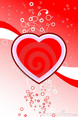 Abstract Valentine card with flowers heart shapes stars, circles