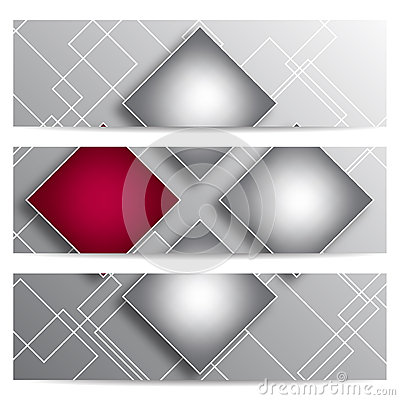 Abstract vector banners with squares