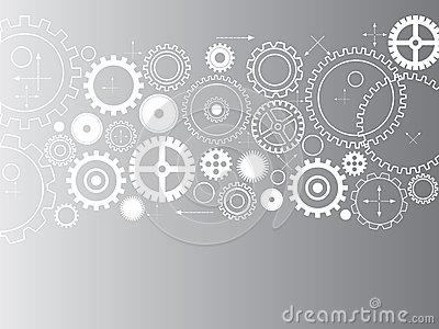 Abstract vector cogs - gears on grey background Vector Illustration
