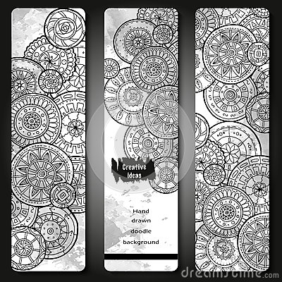 Free Abstract Vector Hand Drawn Doodle Floral Pattern Card Set. Series Of Image Template Frame Design For Card. Black And White. Royalty Free Stock Photography - 69254837
