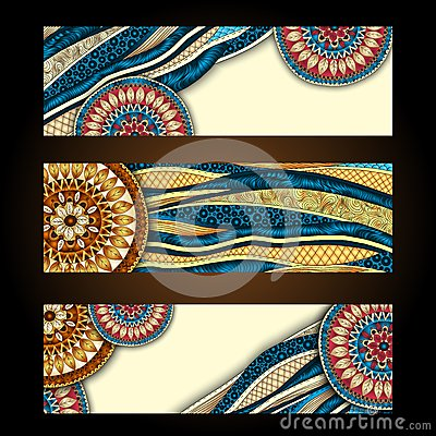 Free Abstract Vector Hand Drawn Ethnic Pattern Card Set Stock Photos - 35816923