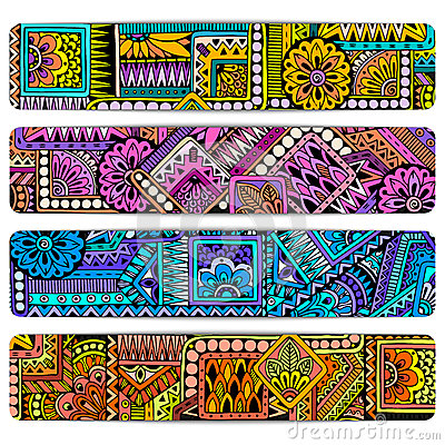 Free Abstract Vector Hand Drawn Ethnic Pattern Card Set. Series Of Image Template Frame Design For Card. Royalty Free Stock Photography - 68611777