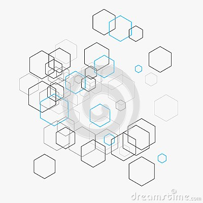Abstract vector illustration with hexagons and lines on white background. Hexagon infographic. Digital technology, science concept Vector Illustration