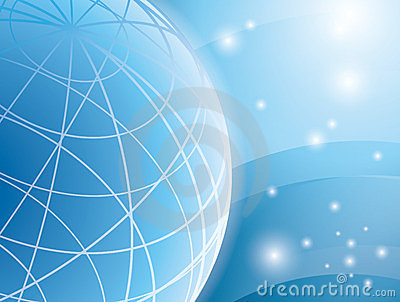 Abstract vector light blue background with globe