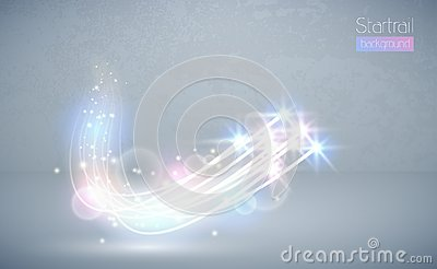 Abstract vector magic white glow star light effect with neon blur curved lines. Sparkling dust star trail lens flare with bokeh Vector Illustration